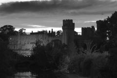Dusk view over Warwick Castle, River Avon