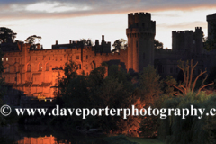 Dusk view of the River Avon and Warwick Castle