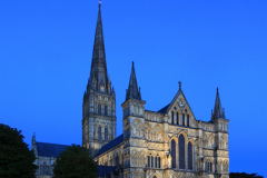 Exterior of the 13th Century Salisbury Cathedral at night, Salisbury City, Wiltshire County, England, UK