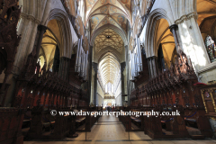 Interior view of the 13th Century Salisbury Cathedral, Salisbury City, Wiltshire County, England, UK