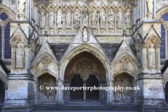 Exterior of the 13th Century Salisbury Cathedral, Salisbury City, Wiltshire County, England, UK