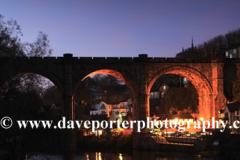 Dusk, the Railway Viaduct, river Nidd, Knaresborough