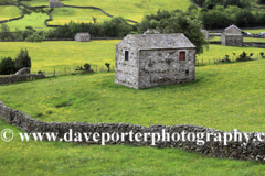 Stone barns, flower meadows, Muker village, Swaledale