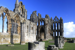 Summer view of the ruins of Whitby Abbey Priory