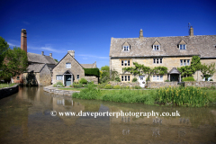 The Old Watermill and Cottages, river Windrush, Lower Slaughter village, Gloucestershire Cotswolds, England, UK