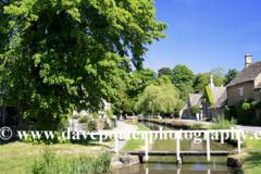 Summer, June, July, Cottages; river Windrush; Lower Slaughter village, Gloucestershire Cotswolds, England, UK