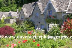 Cottage gardens, Bibury village, Gloucestershire Cotswolds, England, UK
