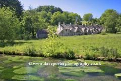 Spring, April, May, Arlington Row Cottages, Bibury village, Gloucestershire Cotswolds, England, UK