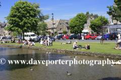 People enjoying the River Windrush, Bourton on the Water