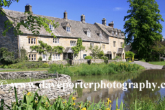 The Old Watermill and Cottages; river Windrush; Lower Slaughter village, Gloucestershire Cotswolds, England, UK