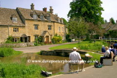 Painters, river Windrush, Lower Slaughter village