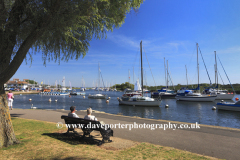 Summer view over Christchurch Harbour, Christchurch town, Dorset County; England, Britain, UK