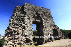 Summer view over the ruins of Christchurch Castle, the Great Tower, Christchurch town, Dorset County; England, Britain, UK