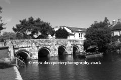Fishing on the Royalty fishery, river Avon, Christchurch Town road bridge, Dorset County; England, Britain, UK