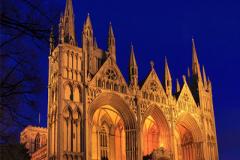 Peterborough Cathedral at dusk