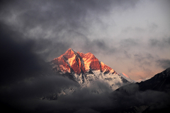 Sunset over Lhotse mountain, Everest range, Nepal