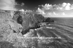 Summer, Bedruthan Steps sea stacks, Carnewas Island