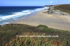 View of the surfing beach, Porthtowan village