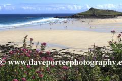 Summer, Porthmeor surfing beach, St Ives town