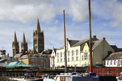 Boats on the river Truro and Truro Cathedral