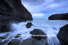Dusk colours over the shore at Tintagel beach