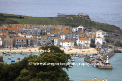 Seafront, harbour and beach view, St Ives town