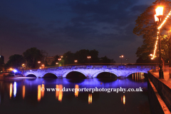 Dusk view of the Road bridge over the river Great Ouse, Bedford town, Bedfordshire, England, UK