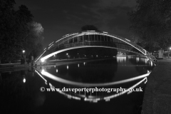 Dusk view of the Suspension bridge over the river Great Ouse, Bedford town, Bedfordshire, England, UK