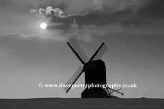 Sunset view of Stevington Windmill; Stevington village; Bedfordshire; England; UK