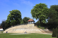 Summer view of Castle Mound and the Embankment gardens, Bedford town, Bedfordshire, England, UK