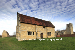 Dovecotes and church, Willington village, Bedfordshire, England, UK