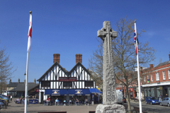 War memorial and Sandy town centre