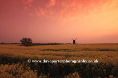 Sunset view of Stevington Windmill; Stevington village