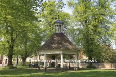 Summer view of the village green in Harrold village, Bedfordshire, England, UK