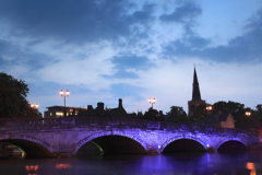 Dusk view of the Road bridge over the river Great Ouse, Bedford town