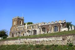 Summer veiw of St Marys church, Potton village, Bedfordshire, England, UK