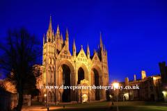 Dusk Peterborough Cathedral Cambridgeshire England UK
