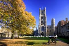 Autumn Colours Ely Cathedral City Cambridgeshire England Britain UK