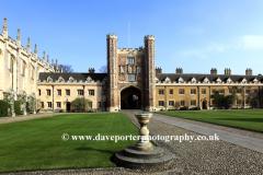 St Johns College courtyard, Cambridge City, Cambridgeshire, England, Uk