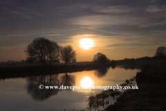Winter Sunset; river Nene; Castor backwaters