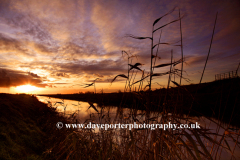 Sunset over a Fenland Drain, near March town