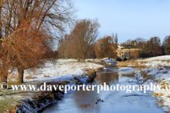 Winter, December, January, frost and snow, river Nene, Castor village, Cambridgeshire, England; Britain; UK