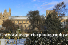 Winter snow over Peterborough Cathedral, Cambridgeshire, England, UK