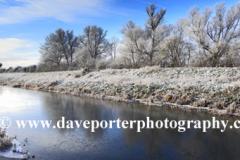 Hoare frost winter scene, river Welland, Glinton village, Cambridgeshire, England; Britain; UK