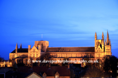 Dusk over the North elevation of Peterborough Cathedral,, Cambridgeshire