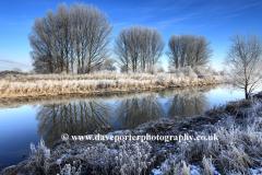 Winter snow, river Welland, Peakirk village