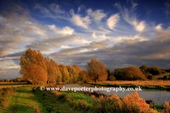 Autumn Colours river Nene Castor village Peterborough Cambridgeshire England