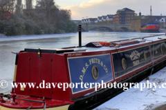 frozen river Nene and narrowboat, Peterborough City