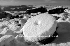 Snow covered Millstones on Millstone Edge