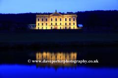 Chatsworth House at night, river Derwent